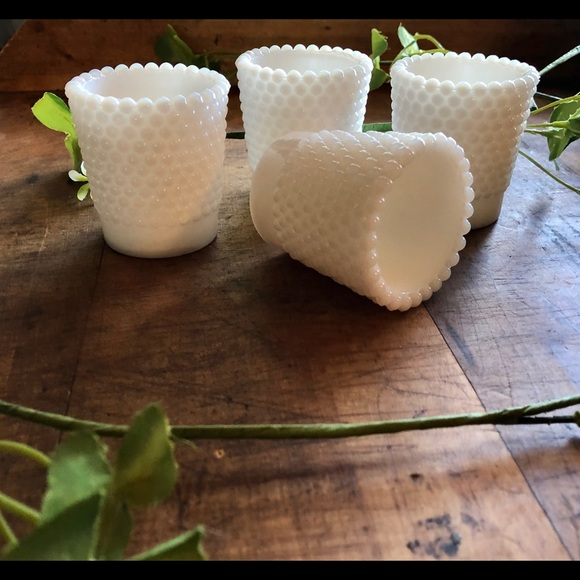 Vintage Other - Vintage (4) hobnail milkglass votive holders, euc